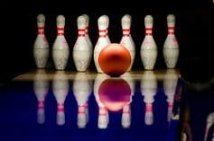 bowling ball and pins